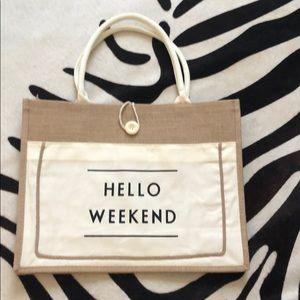 Handbags - Hello weekend Burlap and canvas tote!